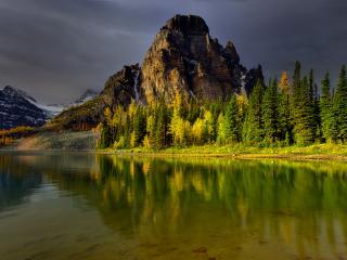 обои Каменная гора с ельником у озера фото