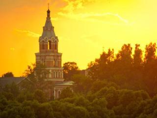 обои Утро. Троицкий храм с. Ознобишино фото