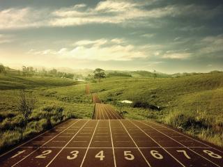 обои для рабочего стола: Дорога для бега среди холмов
