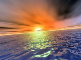 обои Отражение заходящего солнца фото