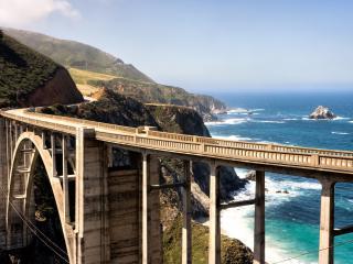 обои Высокий мост над заливом фото