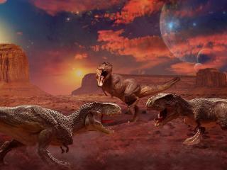 обои Поединок трех динозавров фото