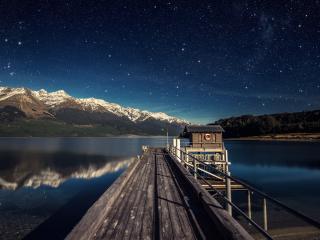 обои Мост в зеркальное озеро фото