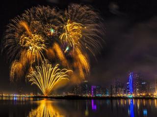 обои Жёлтый фейерверк в Дубае фото