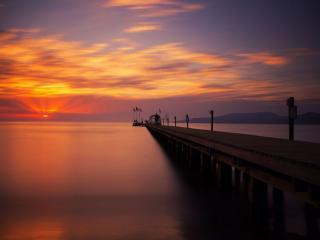 обои Пристань,   море и закат фото