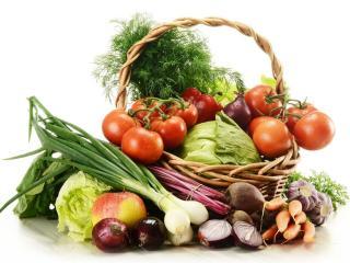 обои Лукошко с овощами фото