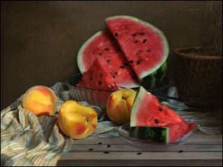 обои Арбуз с персиками фото
