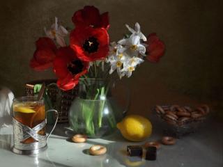обои Чай с лимоном и цветами фото