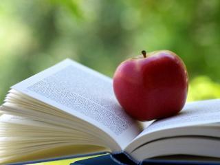 обои Красное яблоко на книге фото