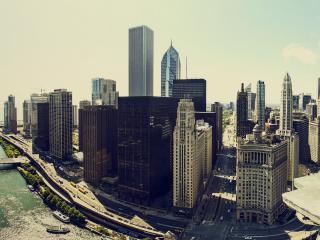 обои Мегаполис с рекой фото