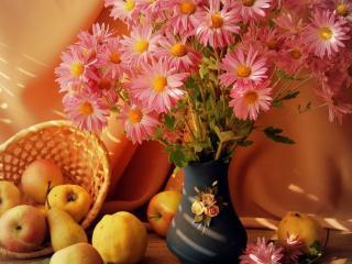 обои Букет цветов и яблоки фото