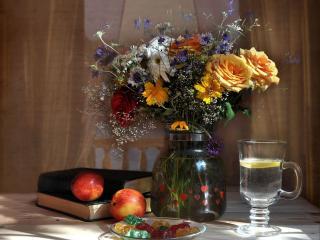 обои Букет с нектаринками и мармеладом фото