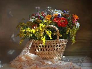 обои Цветы в корзине фото