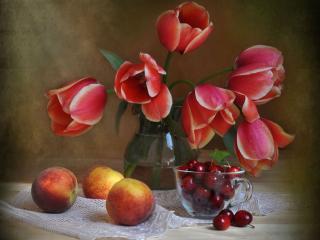 обои Тюльпаны с персиками и черешней фото