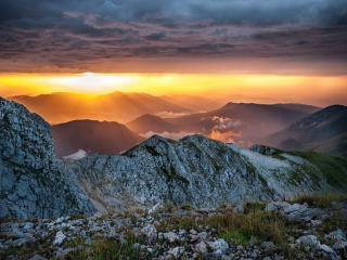 обои Утро в горах Кавказа фото