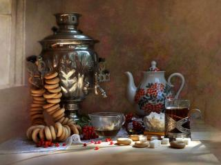 обои Чай с сушками фото