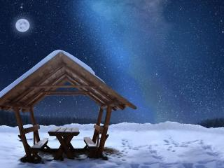 обои Место отдыха в зимнюю ночь фото