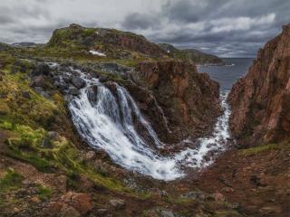 обои Водопад в Териберке. Кольский полуостров фото