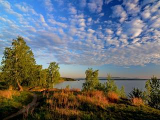 обои для рабочего стола: Утро на озере