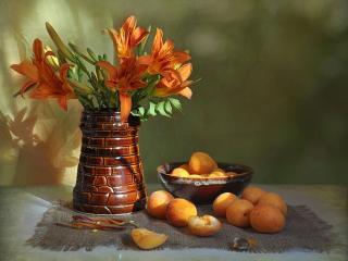 обои Лилии с абрикосами фото
