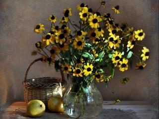 обои Желтенькие цветочки и груши фото
