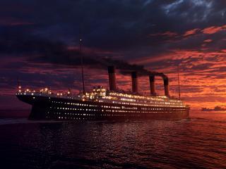 обои для рабочего стола: Титаник на закате