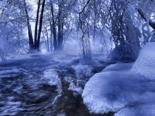 обои Бурная река в зимнем лесу фото