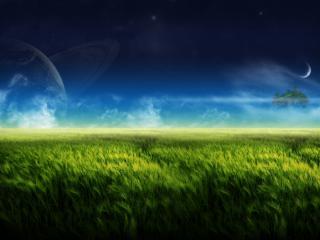 обои Остров и планета в небе фото