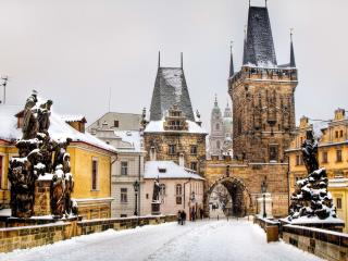 обои Зимний европейский город фото