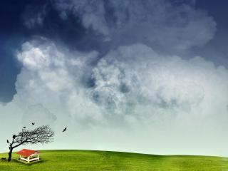 обои для рабочего стола: Сухое дерево и небо