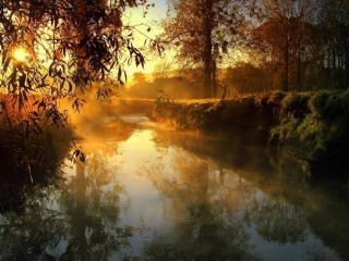 обои для рабочего стола: Осеннее утро на маленьком деревенском пруду