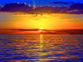 обои Золотой закат на море фото