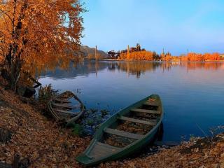 обои Осенний пруд. Сатка фото
