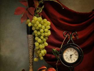 обои Виноград с часами фото