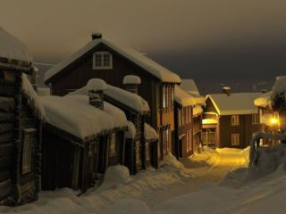 обои Северная ночная деревенька фото