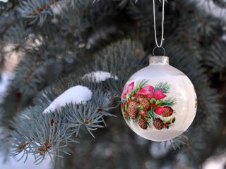 обои Серебрянный шарик на зимней елке фото