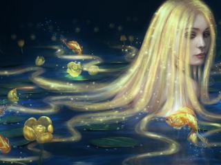 обои Златоволосая русалка и золотые рыбки фото