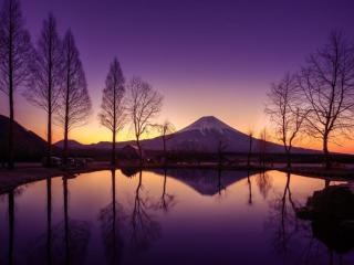 обои для рабочего стола: Вечер на Фудзияме. Япония