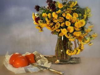 обои Цветы с хурмой фото