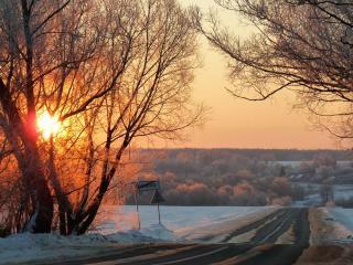 обои Дорога морозным утром фото