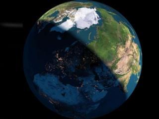 обои для рабочего стола: День и ночь из космоса