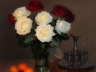 обои Розы с мандаринками фото