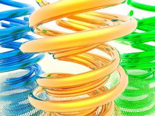 обои Разноцветные витые пружины фото
