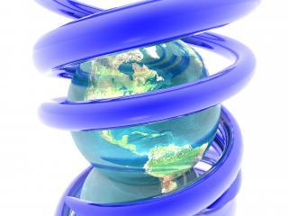 обои Земной шар оплетенный синей пружиной фото