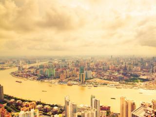 обои Вид на городскую реку с высоты фото