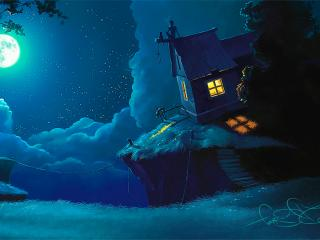 обои Два мечтателя на крыше своего дома фото