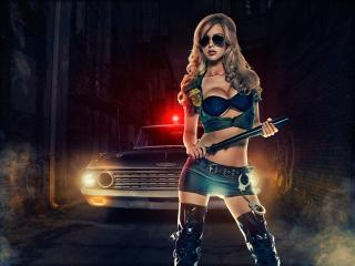 обои Девушка-полицейский с дубинкой фото