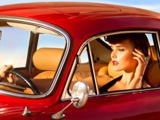 обои Гламурная девушка в ретро автомобиле фото