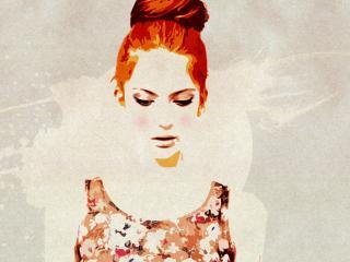 обои Девушка акварельными красками фото