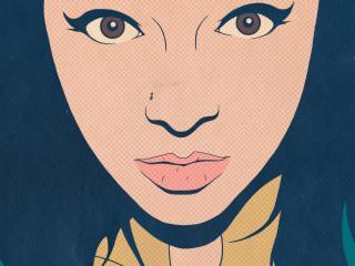 обои Рисованный портрет девушки с большими глазами фото